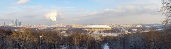 Winterpanorama von Moskau Ansicht von der Oberseite Russland Stockfotos
