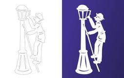 Winterpapierschnitt lamplighter Wycinanka Lizenzfreies Stockbild
