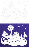 Winterpapierschnitt Snow-covered Bäume Hasen und Fuchs Wycinanka Stockbilder