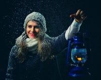 Winterphantasienacht Stockbild