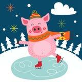Winterplakat mit dem Schweineislauf lizenzfreie abbildung