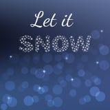 Winterplakatkarte Laßt ihm lokalisierte zu schneien, zu simsen auf unscharfem Hintergrund Explosion von Farben und von Formen lizenzfreie abbildung