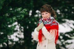 Winterporträt der lächelnden russischen Schönheit im handgemachten roten Schal vor Tannenbäumen Lizenzfreies Stockfoto