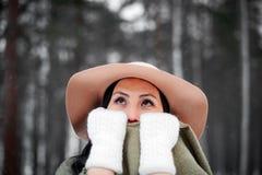 Winterportrait einer jungen Frau Stockbilder