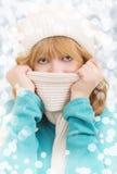 Winterportrait eines schönen Mädchens Stockfotografie