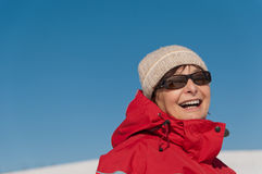 Winterporträt der älteren Frau Stockbilder