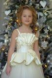 Winterprinzessin am Weihnachtsbaum Stockbilder