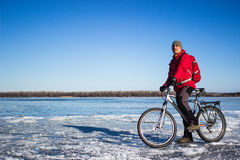 Winterradfahren Stockbilder