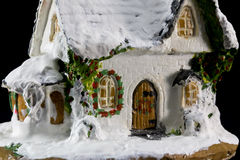 Winters christmas decoration with small toy ceramic house Stock Images