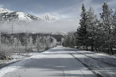 Winters drive. Frosty afternoon  in Jasper national park,Canadian Rockies Stock Photos