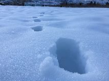 A winters. Footprints across the snow Royalty Free Stock Photo