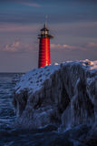Winters Grasp - Kenosha, WI. Kenosha, Wi North Pier Lighthouse in the midst of winter Royalty Free Stock Image