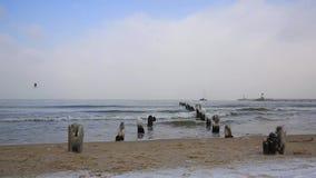 Winters landschap van Oostzee stock footage