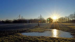 Winters morning dogwalk Royalty Free Stock Images