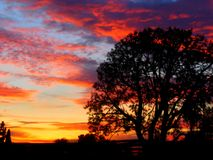 A Winters Nights Sunset. In California.  Warm and red and mesmerizing Royalty Free Stock Photography