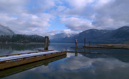 Winters Vista. Grants narrows in Pitt Meadows, BC with a soft sprinkling of snow Royalty Free Stock Photography