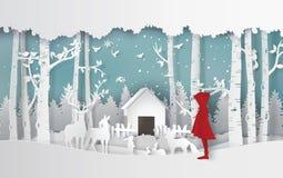 Wintersaison mit dem Mädchen im roten Mantel und im Tier im ju lizenzfreie abbildung