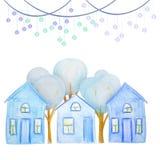 Wintersatz Häuser gezeichnet mit farbigen Aquarellbleistiften vektor abbildung