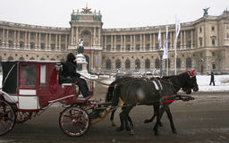 Winterscape: Fiaker na frente de Hofburg Imagens de Stock Royalty Free