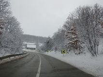 Winterscape road view from a car. Winter winterscape road view car stock image
