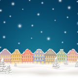 Winterscene - christmas card. Illustration of a Christmas Background with Winter Landscape Stock Photo