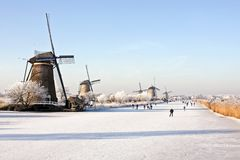 Winterscenery At Kinderdijk In The Netherlands Royalty Free Stock Images