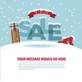 Winterschlussverkauf mit Schnee- und Bandhintergrund Stockfotos