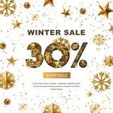 Winterschlussverkauf 30 Prozent heruntergesetzt, Fahne mit Gold 3d spielt und Schneeflocken die Hauptrolle Stockbilder