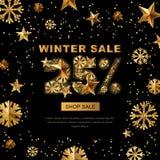Winterschlussverkauf 25 Prozent heruntergesetzt, Fahne mit Gold 3d spielt und Schneeflocken die Hauptrolle Stockbilder