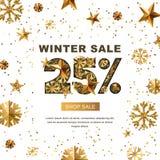 Winterschlussverkauf 25 Prozent heruntergesetzt, Fahne mit Gold 3d spielt und Schneeflocken die Hauptrolle Stockfotografie