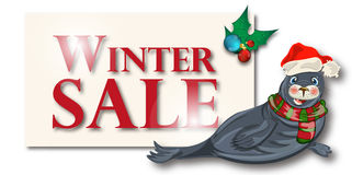 Winterschlussverkauffahne, Zeichen, Hintergrund mit polarem dichtung Lizenzfreie Stockbilder
