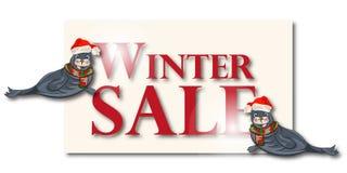 Winterschlussverkauffahne, Zeichen, Hintergrund mit polarem dichtung Lizenzfreies Stockbild