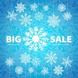 Winterschlussverkaufhintergrundfahne und -schnee Weihnachten Stockfotos
