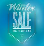 Winterschlussverkaufplakatzeichen der blauen und grünen Lichter Lizenzfreies Stockbild