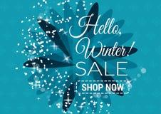 Winterschlussverkauftext-Vektorillustration im Winterhintergrund Lizenzfreie Stockfotos