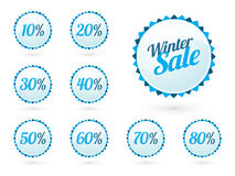 Winterschlussverkaufzeichen mit Prozentsätzen Stockbilder