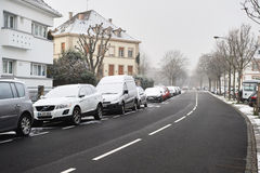Winterschnee in der Stadt von Straßburg, Elsass, Frankreich Lizenzfreies Stockbild