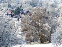 Winterschneeszene auf Chorleywood-Common mit Dorfhäusern im Abstand lizenzfreies stockbild