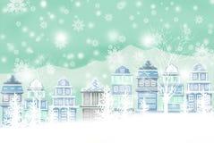 Winterschneeszene der Illustrationsatmosphäre - grafische Malereibeschaffenheit Stockfotos