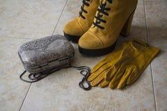 Winterschuhe, -handschuhe und -kupplung Lizenzfreies Stockfoto