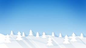 Winterse bos vlakke stijlillustratie Stock Afbeeldingen