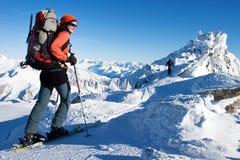 Winterskifahren Stockfotos