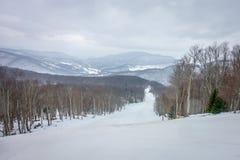 Winterskifahren-Jahreszeitszenen am Schneeschuhberg- West-viginia lizenzfreie stockbilder