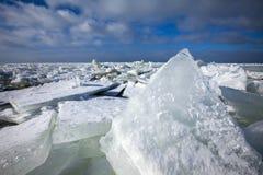 Winterslandschap, Winter landscape. Kruiend ijs op het IJsselmeer, Drifting ice on the IJsselmeer stock image
