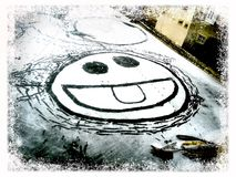 Wintersmiley Stockfoto