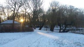 Wintersonnenstandort Stockfoto