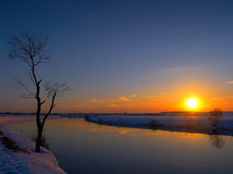 Wintersonnenuntergang Lizenzfreie Stockfotografie
