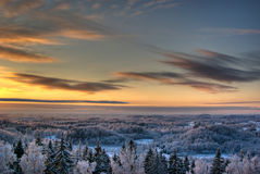 Wintersonnenuntergang Stockbild