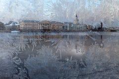 Wintersonnenuntergang - Ansicht in Vasilevsky-Insel, St Petersburg Russland Stockfotos