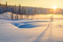 Wintersonnenuntergang im schneebedeckten Wald mit schönem nebelhaftem Nebel Lizenzfreies Stockfoto